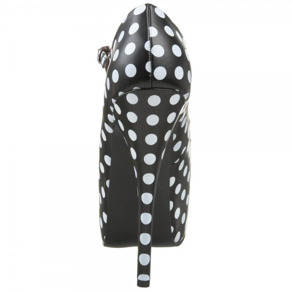 Black and White Heels Polka Dots Stiletto Heels Mary Jane Pumps image 3