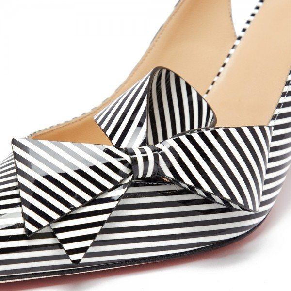 Black and White Patent Leather Stripe Stiletto Heel Slingback Pumps image 2