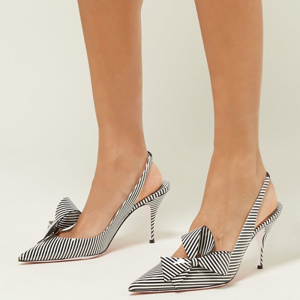 Black and White Patent Leather Stripe Stiletto Heel Slingback Pumps image 5