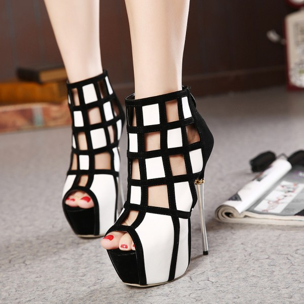 Women's White and Black Peep Toe Hollow Out Stiletto Heels Party Shoes image 1