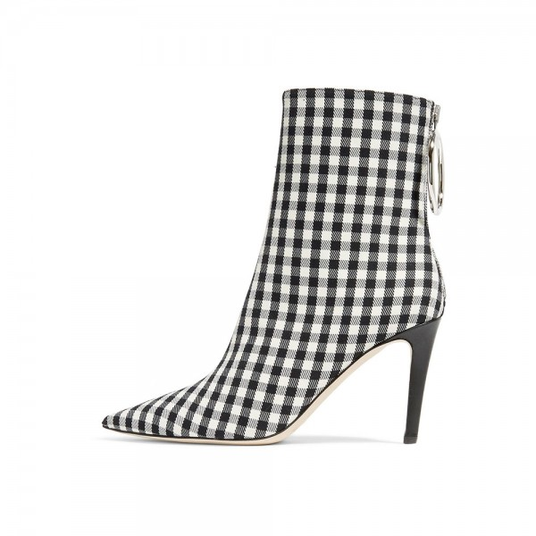 Black and White Plaid Stiletto Boots Pointy Toe Ankle Booties with Zip image 1