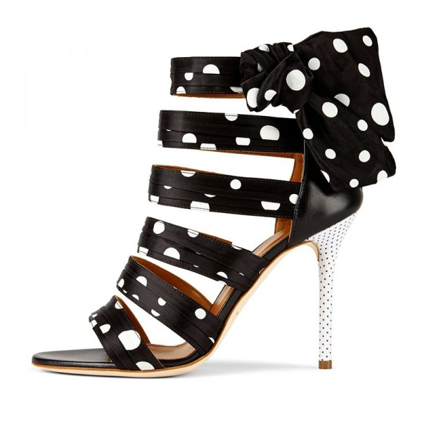6b9e0d87145 ... Black and White Polka Dots Bowknot Gladiator Heels Sandals image 2 ...