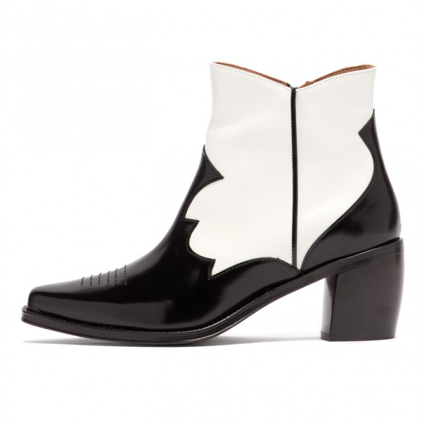 Black and White Square Toe Block Heel Ankle Booties image 1