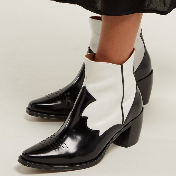 Black and White Square Toe Block Heel Ankle Booties image 2