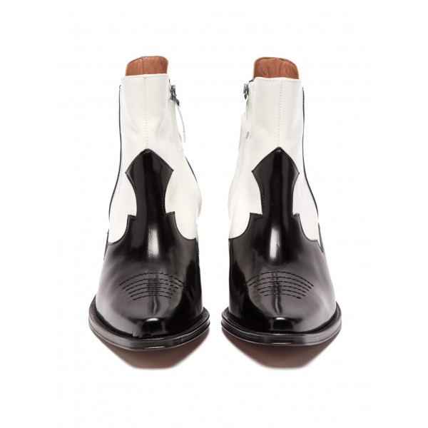 Black and White Square Toe Block Heel Ankle Booties image 4