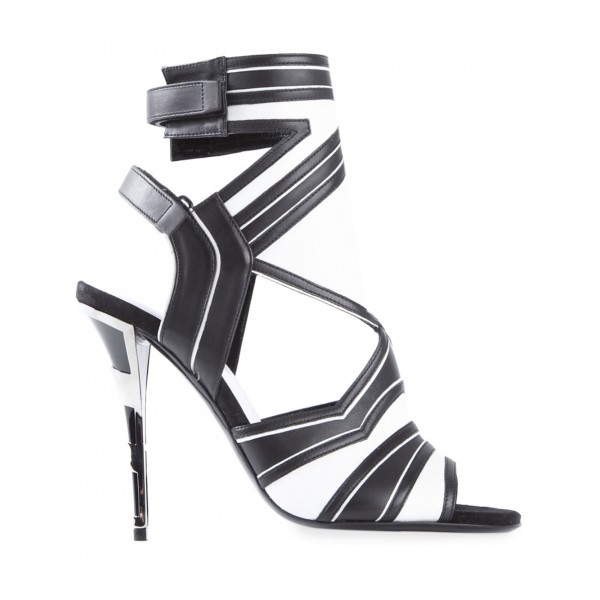 Black and White Dress Shoes Slingback Peep Toe Stiletto Heels Sandals image 3