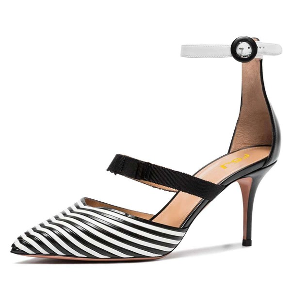 Black and White Stripe Ankle Strap Stiletto Heels Pumps image 1