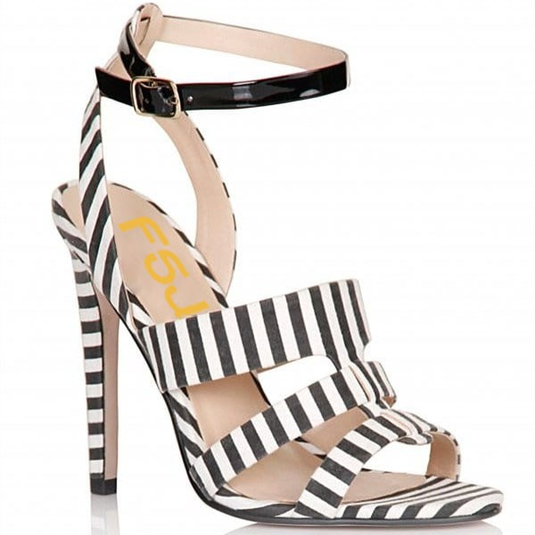 Black and White Shoes Slingback Peep Toe Stiletto Heels Ankle Sandals image 4