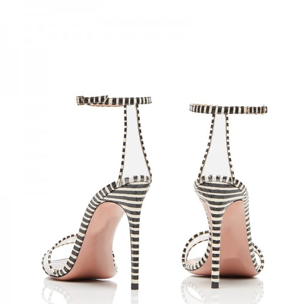 Black and White Strips Stiletto Heel Ankle Strap Sandals image 3