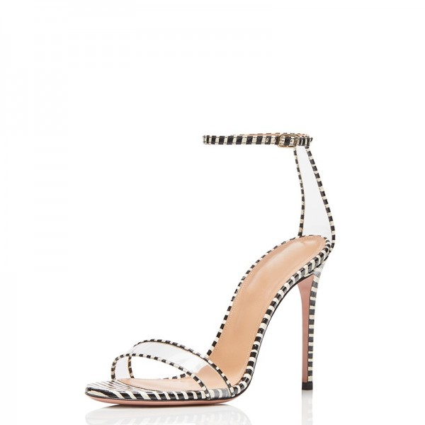 Black and White Strips Stiletto Heel Ankle Strap Sandals image 1