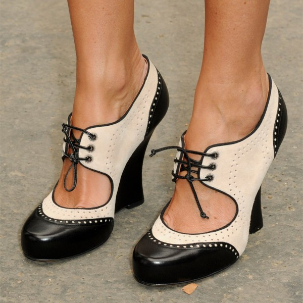 e62e69da256 Black and Ivory Oxford Heels Cut out Lace up Vintage Shoes for Work ...