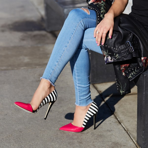 Magenta and Black Stripes Pointy Toe Stiletto Heels Pumps image 4