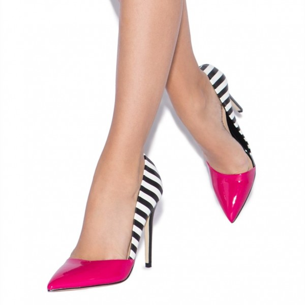 Magenta and Black Stripes Pointy Toe Stiletto Heels Pumps image 2
