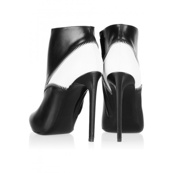 Black and White Zip Style Stiletto Heel Ankle Booties image 3
