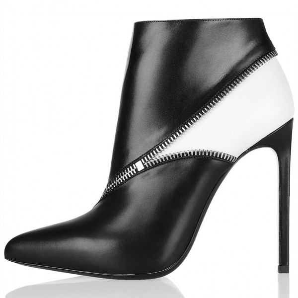 Black and White Zip Style Stiletto Heel Ankle Booties image 1