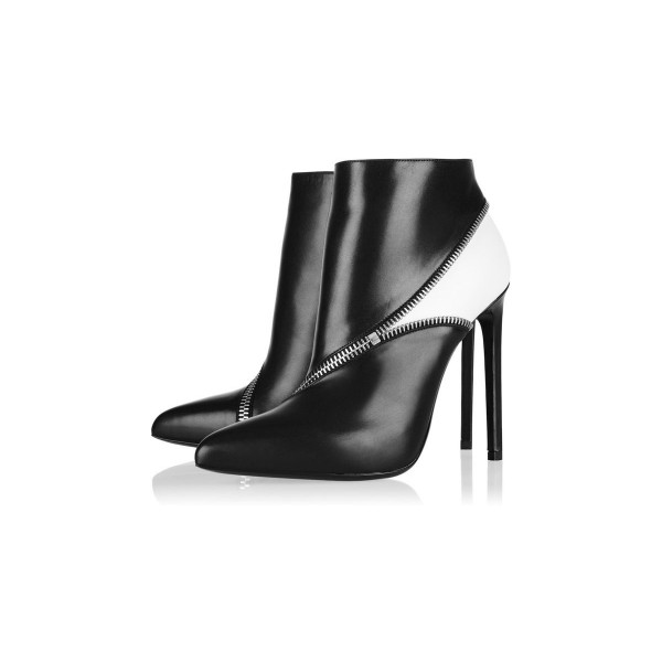 Black and White Zip Style Stiletto Heel Ankle Booties image 2