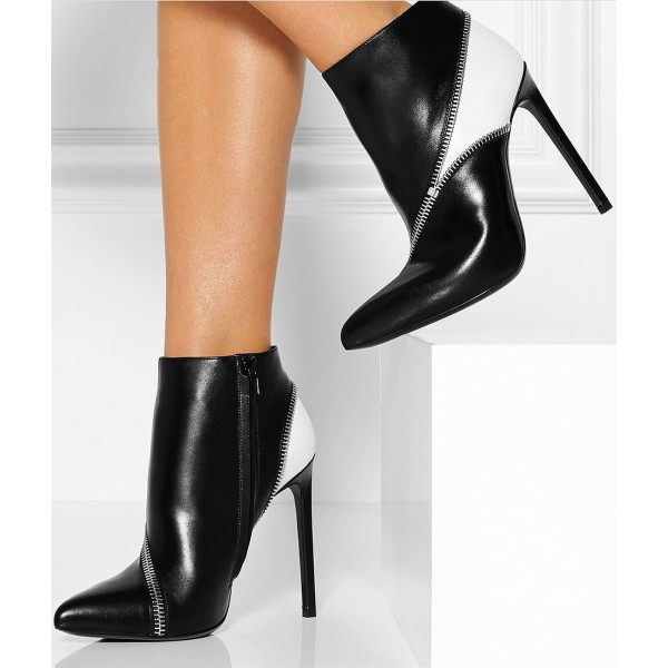 Black and White Zip Style Stiletto Heel Ankle Booties image 4