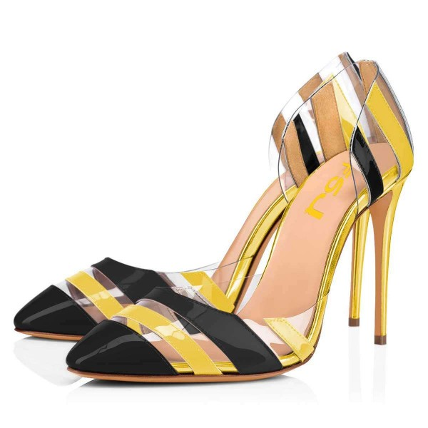 Yellow And Black Heels