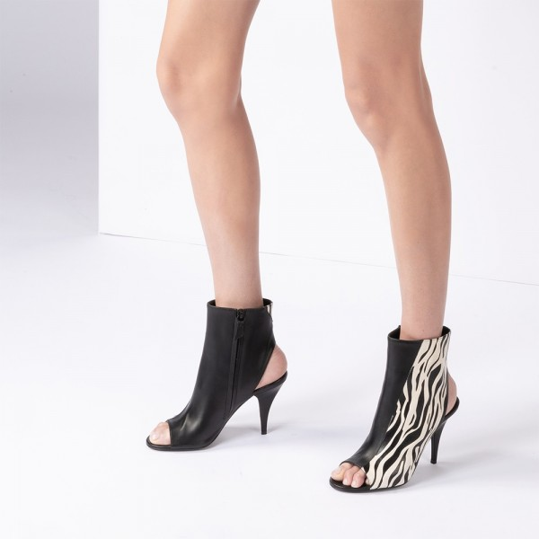 Black and Zebra Print Peep Toe Booties Stiletto Heel Ankle Boots  image 2