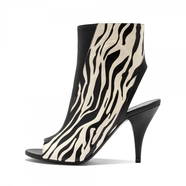 Black and Zebra Print Peep Toe Booties Stiletto Heel Ankle Boots  image 4
