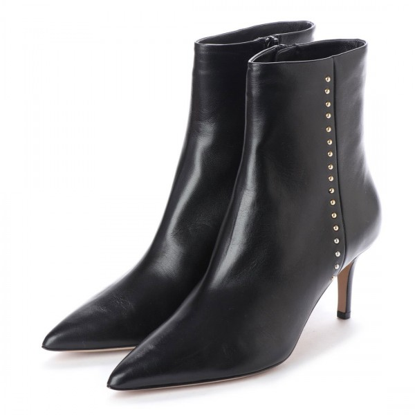 Black Ankle Booties Studs Shoes Pointy Toe Stiletto Boots image 1