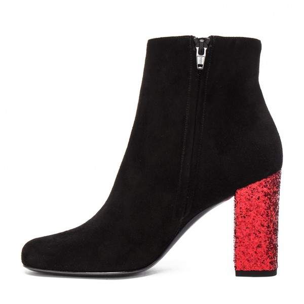 Black Ankle Booties Suede Round Toe Glitter Chunky Heel Boots image 2