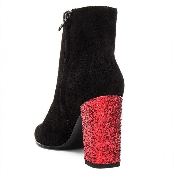 Black Ankle Booties Suede Round Toe Glitter Chunky Heel Boots image 4