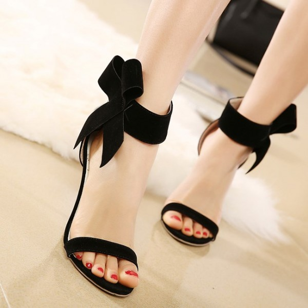 Black Side Bow Heels Open Toe Ankle Strap Stiletto Heel Sandals image 3