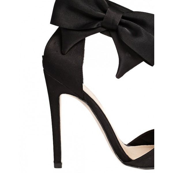 Women's Black Sexy Ankle Strap Sandals Bow Pointed Toe Stiletto Heels image 2