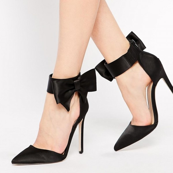 Women's Black Sexy Ankle Strap Sandals Bow Pointed Toe Stiletto Heels image 4