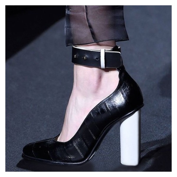 Black Ankle Strap Heels Pointy Toe Block Heels Pumps image 1