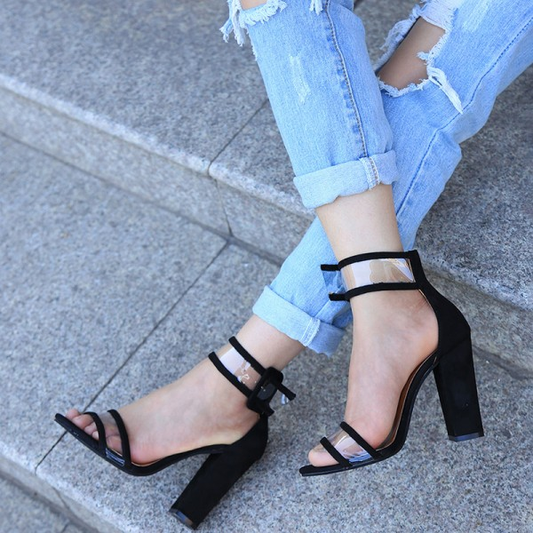 4fff72f2d9 Black Ankle Strap Sandals Clear Open Toe Block Heels for Work, Party ...