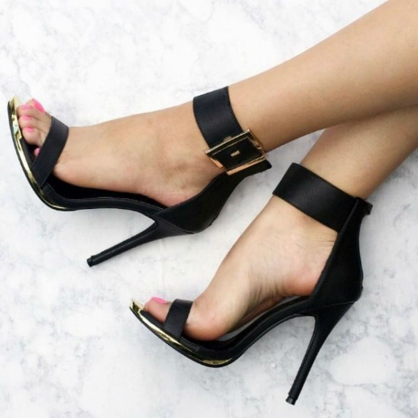 Black Ankle Strap Heel Sandals