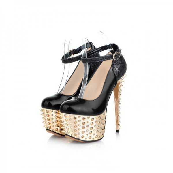 Black and Golden Platform Heels Rivets Stiletto Heel Stripper Shoes image 3