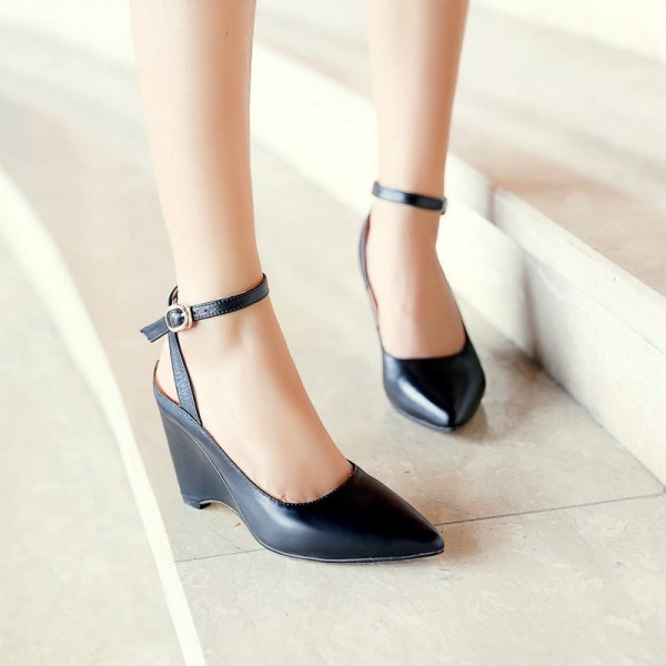 Women's Black Pointy Toe Ankle Strap Wedge Heels Pumps image 2