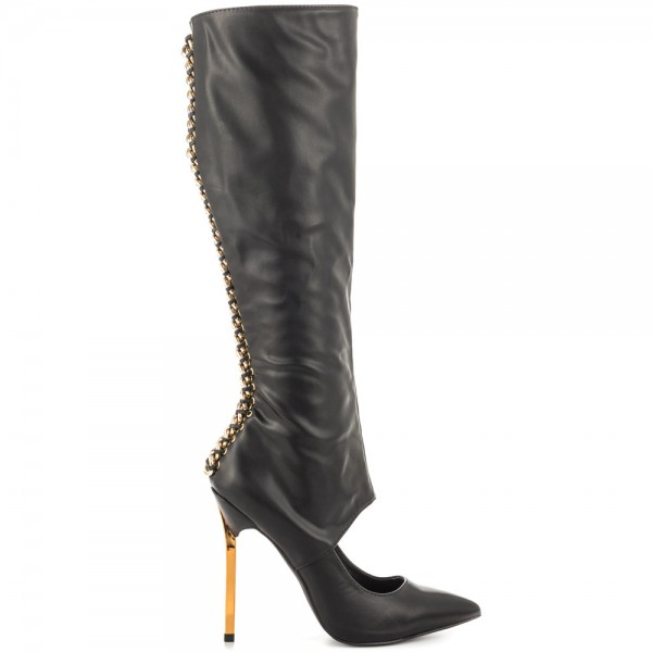 Black Fashion Boots Pointed Toe Gold Stiletto Heels Mid-Calf Boots image 2