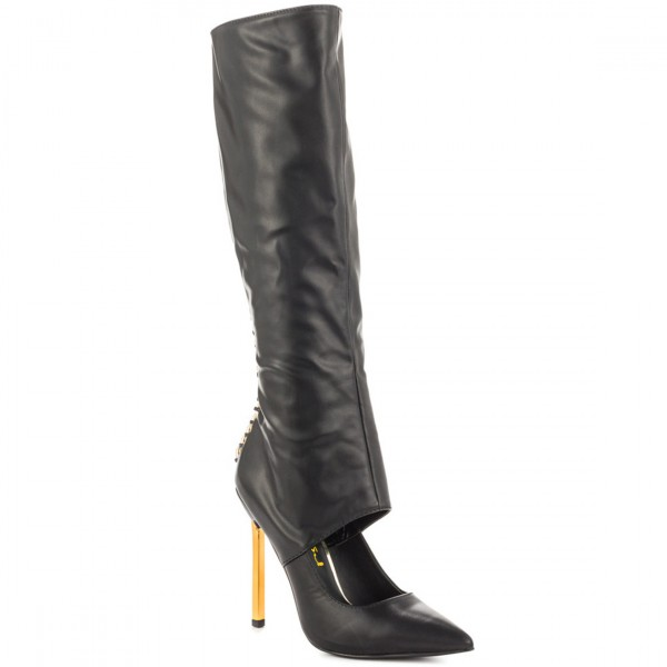 Black Fashion Boots Pointed Toe Gold Stiletto Heels Mid-Calf Boots image 7