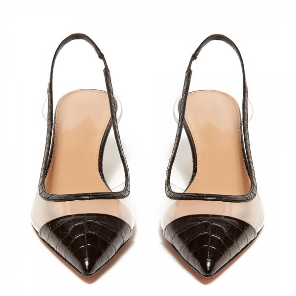 Black Bamboo Grain Patent Leather Clear Kitten Heel Slingback Pumps image 3