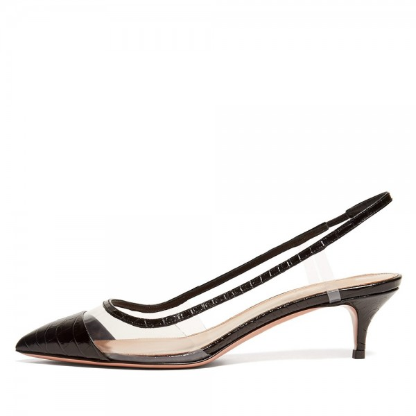 Black Bamboo Grain Patent Leather Clear Kitten Heel Slingback Pumps image 1