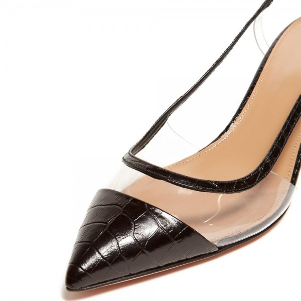 Black Bamboo Grain Patent Leather Clear Kitten Heel Slingback Pumps image 2
