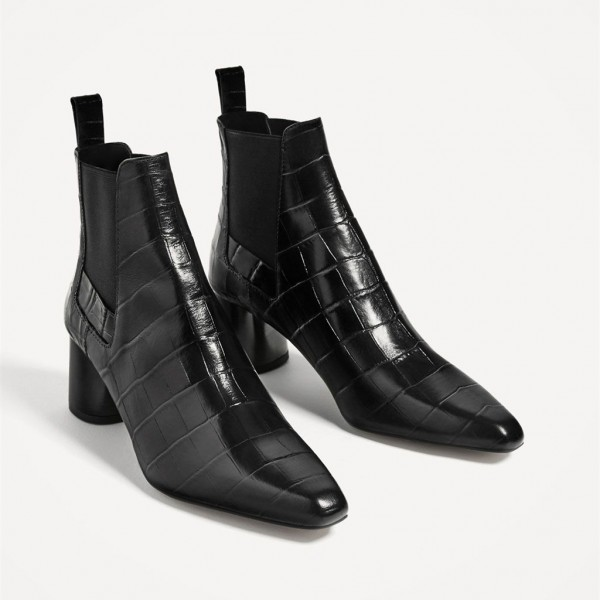 Womens Black 3 Inch Heels Chunky Heel Boots Pointy Toe Ankle Booties Image