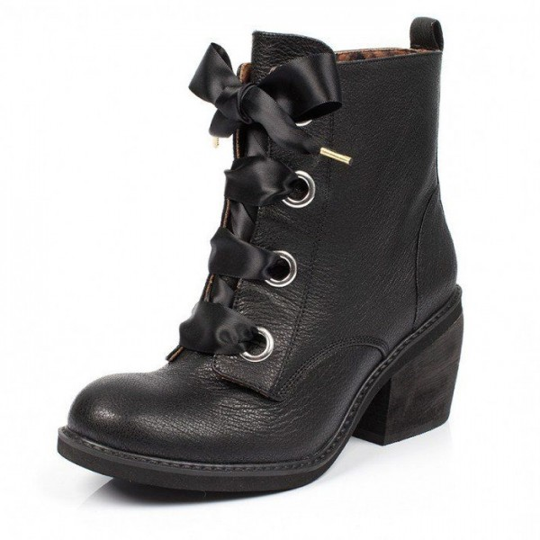 Black Block Heels Boots Round Toe Lace up Ankle Booties image 1