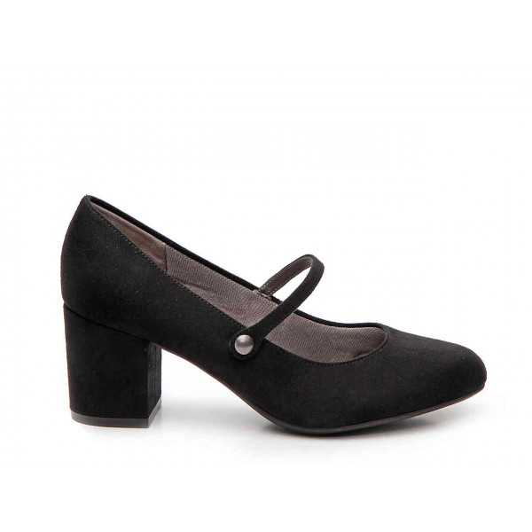 Black Block Heels Mary Jane Shoes Round Toe Pumps for Office Lady image 2