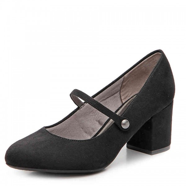 Black Block Heels Mary Jane Shoes Round Toe Pumps for Office Lady image 1