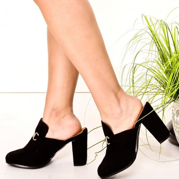 Black Suede Loafer Mules Round Toe Chunky Heel Loafers for Women image 1