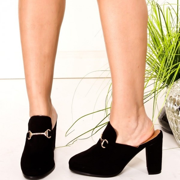 Black Suede Loafer Mules Round Toe Chunky Heel Loafers for Women image 3
