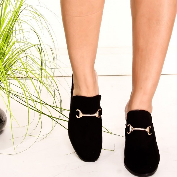 Black Suede Loafer Mules Round Toe Chunky Heel Loafers for Women image 2