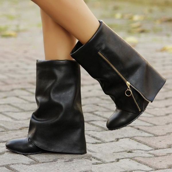 Black Bold Over Zip Wedge Heel Fashion Boots Ankle Boots image 1