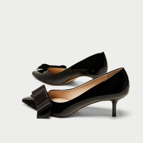 Black Bow Kitten Heels Pumps image 3