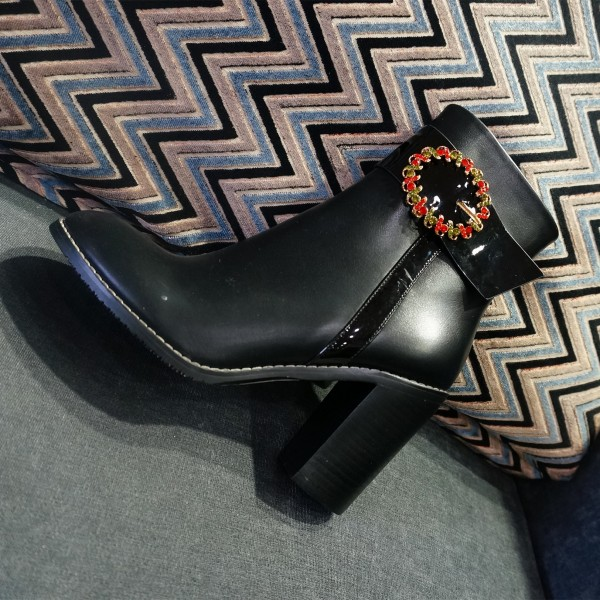 Black Buckle Accessories Decorated Almond Toe Block Heels Ankle Boots image 1